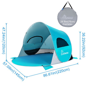 "WolfWise easy pop up beach tent is 86"" L x 57"" W x 47"" H, providing a spacious interior shelter that comfortably fits 3-4 people. Weighing just 4.2 pounds and folds down to a travel size of 29.5"" L x 29.5""W x 1.6"" H."