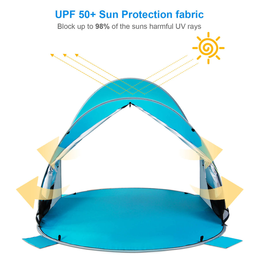 Wolfwise pop up beach shelter blocks up to 98% of the sun's harmful UV rays.