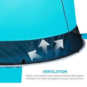 WolfWise pop up beach shade delivers 360 degree ventilation for better dissipation of body heat and odor.