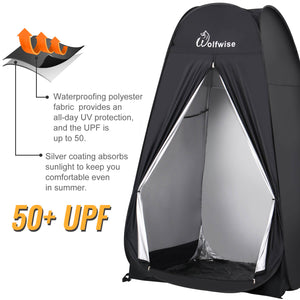 WOLFWISE POPUP PRIVACY TENT has UPF 50+.