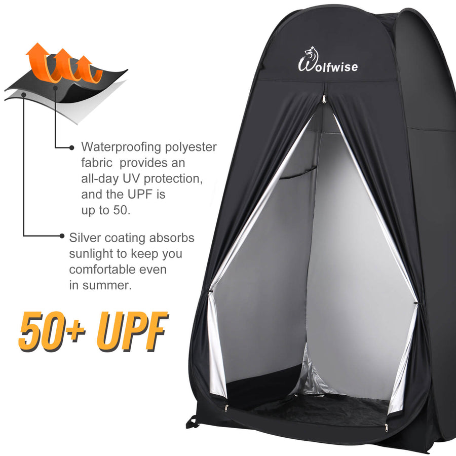 WolfWise pop up privacy tent provides all-day UV protection. Keep you comfortable even in the summer.