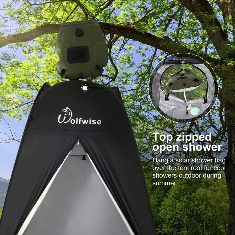 WOLFWISE POPUP PRIVACY TENT has top zipped open shower.