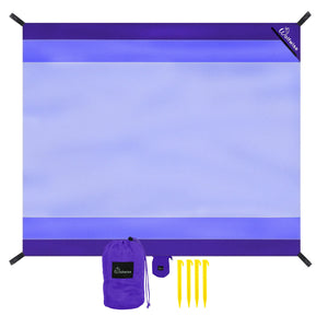 Wolfwise Pocket Beach Blanket, 7'x9'-purple