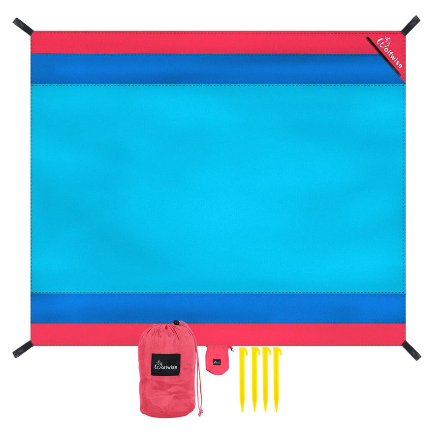 Wolfwise Pocket Beach Blanket, 7'x9'-blue