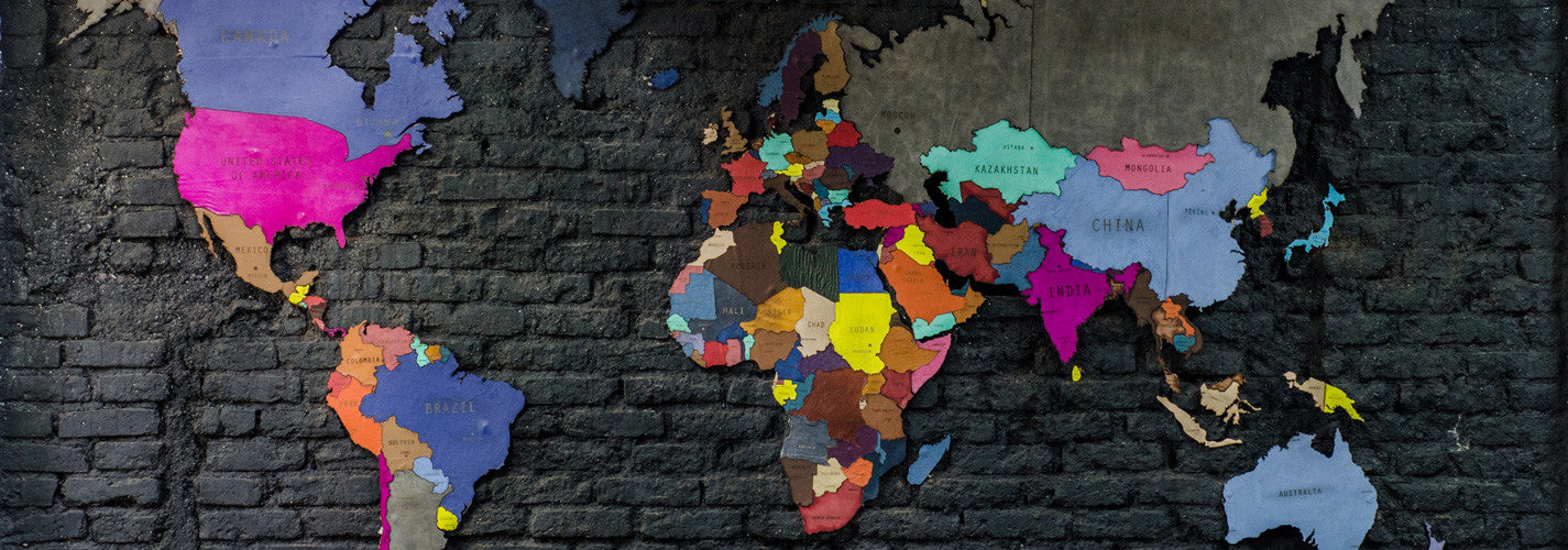 Of world maps and not enough travel the black canvas leather travel world map wall art installation gumiabroncs Image collections