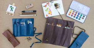 blue turquoise brown leather stationery organiser tool roll for artists watercolour paint brush tool kit