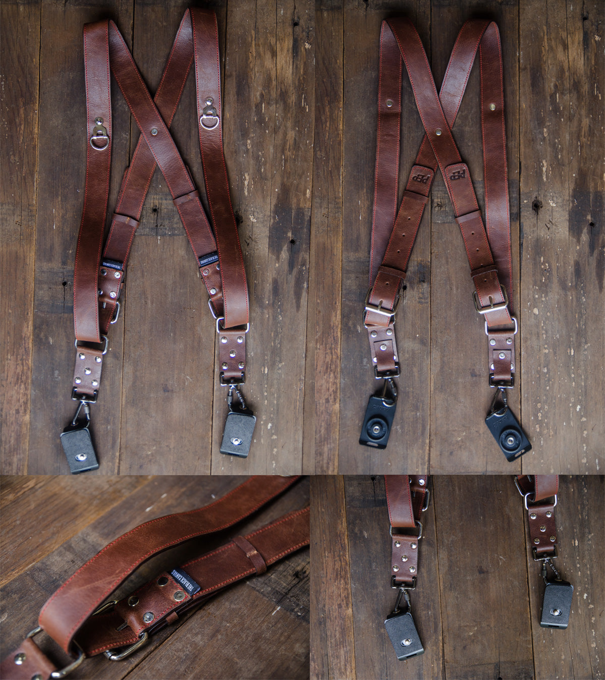 Brown Leather Double Camera Harness for PEP Talks