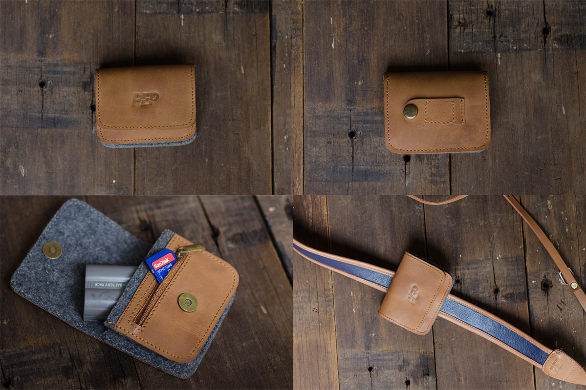 Tan Leather & Felt Camera Battery Pouch for PEP Talks