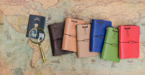 tbc travellers journal travel diary brown tan blue red green map passport