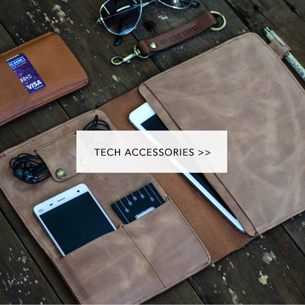 leather Tech accessories the black canvas