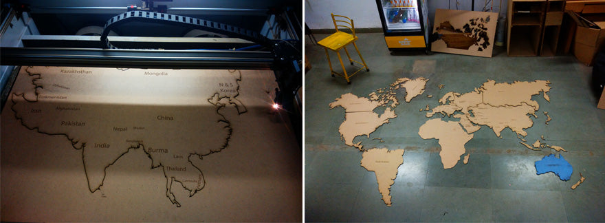 Laser Cut World Map on MDF