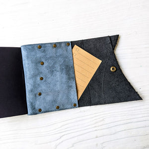 Denim Blue & Black Leather Journal