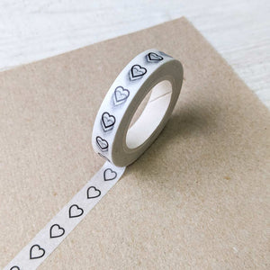 Black Heart Outline Washi Tape
