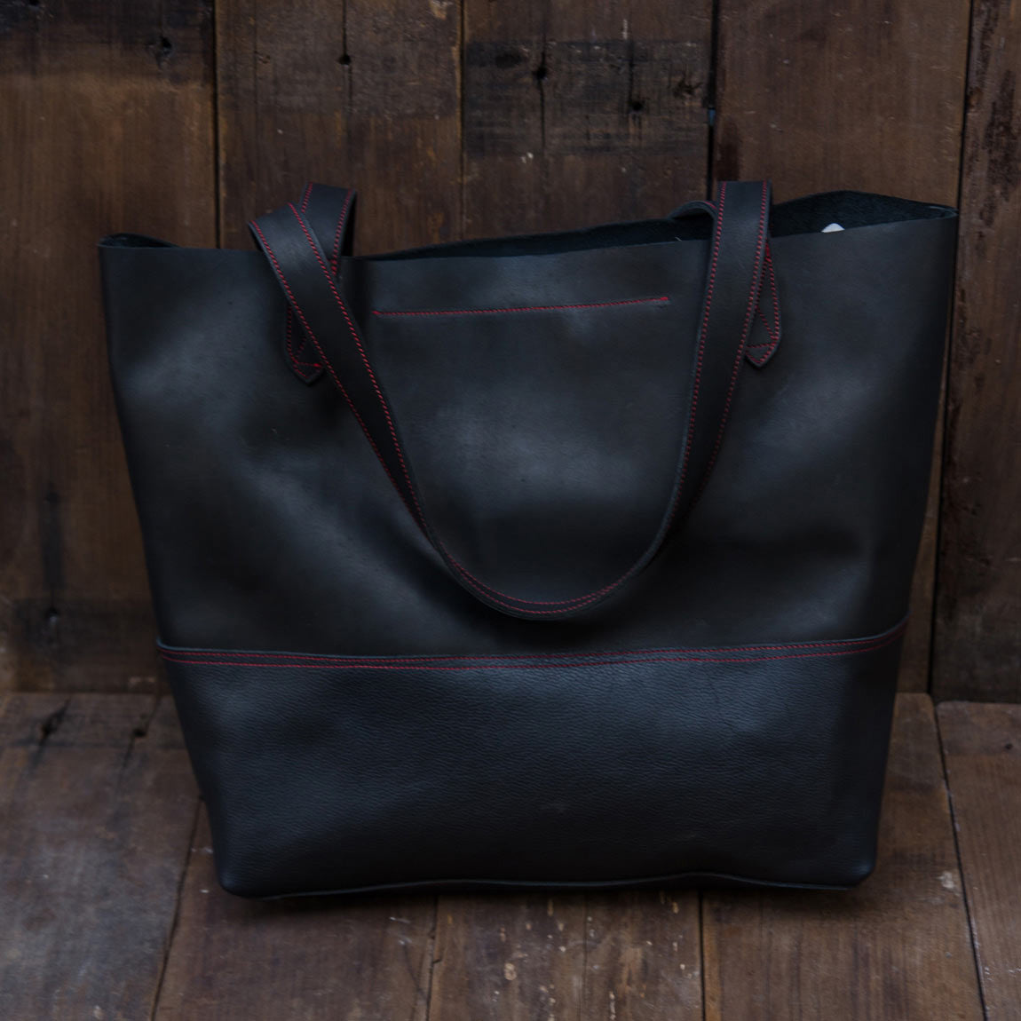 Large Black Leather Tote Bag By The Black Canvas