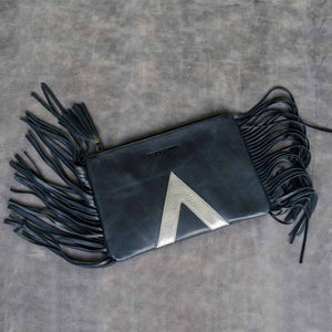 Black silver metallic leather clutch with tassel fringe women purse