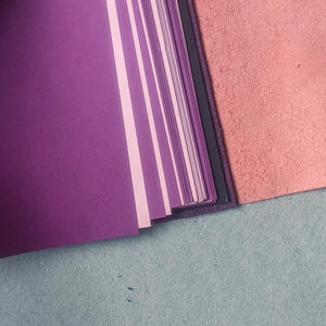 Blush Pink & Purple Leather Journal - A5