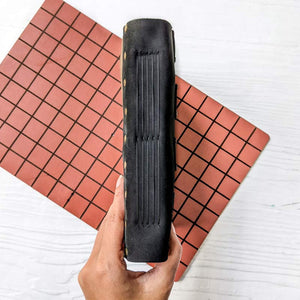 Brown Chequered Window Leather Journal - A5
