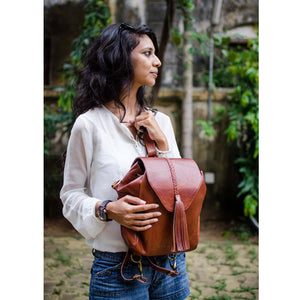 Brown Leather boho tassel backpack bag women