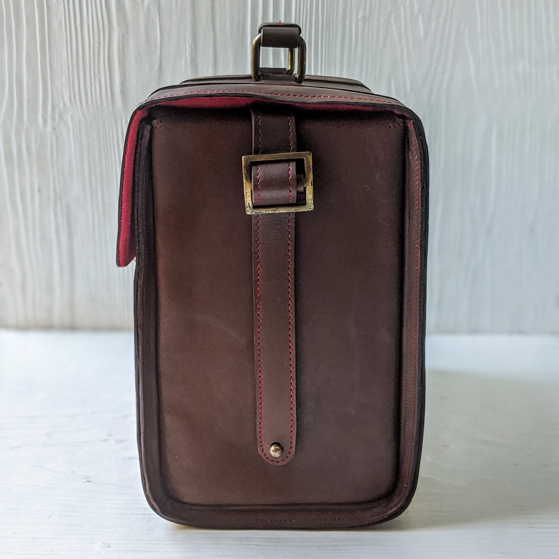 RS / / Brown Leather DSLR Briefcase Bag