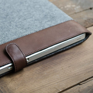 Brown leather grey felt Mackbook Pro sleeve case
