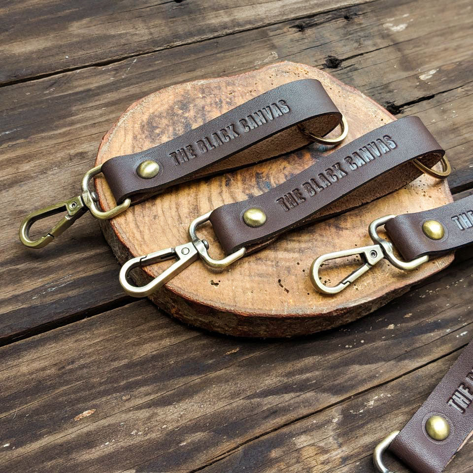 Key Fob Keychain >> Brown Leather Keychain Handcrafted By The Black Canvas