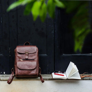 Brown Leather Laptop Backpack Bag with Flap