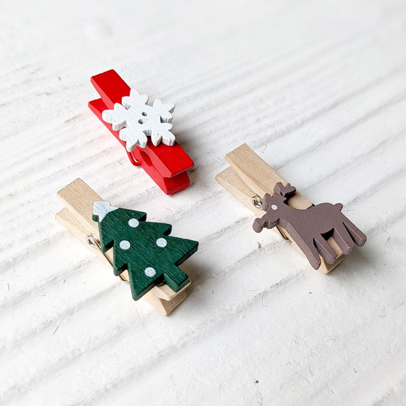 Christmas Wooden Paper Clips - Set of 3