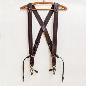 Double Camera Strap Harness - Brown