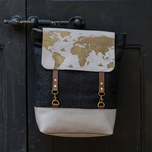 Grey Leather Black Felt World map Travel Bagpack Front Closed