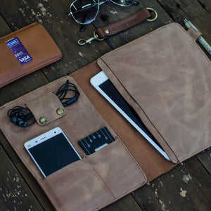 Leather ipad mini and document organizer open