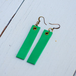 Minimalist rectangle shaped leather neck pieces, leaf green, sea green, mint, turqouise and navy blue