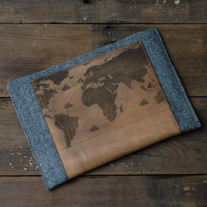 Tan Leather Grey felt laser engraved world map ipad Air sleeve case
