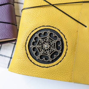 Metal Motif Square Leather Journal