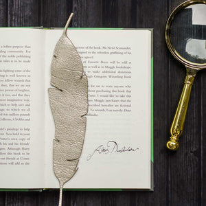 Laser cut leather feather bookmarks