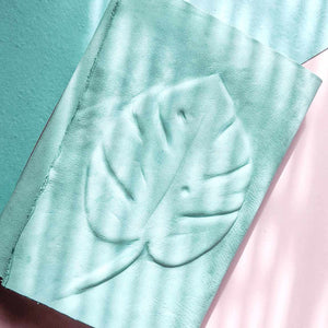 Pastel Mint & Pink Leather Pocket Journal - A6