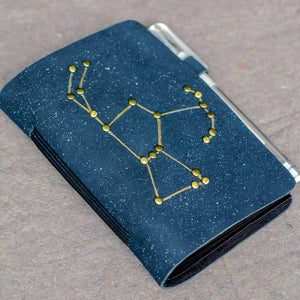 Constellation pocket journal with white pen and polaroid pictures