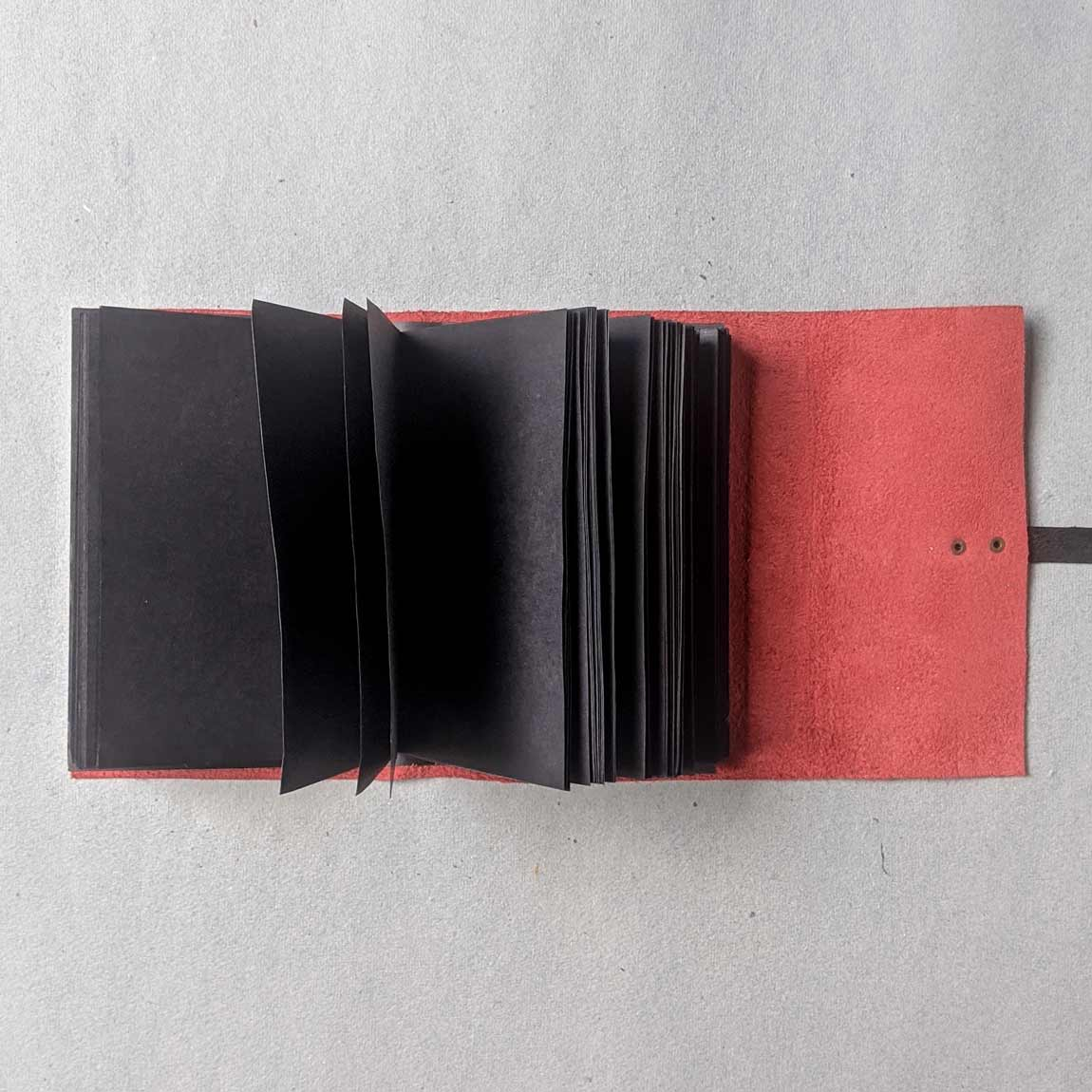 Peach & Black Leather Pocket Journal - A6