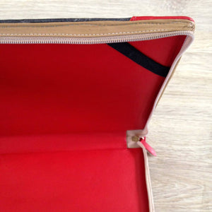 "13"" Macbook Pro Zip Case in grey leather with red corners"