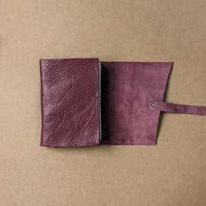 Raspberry Red Leather Journal With Deckled Pages - A6