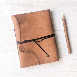 Tan Leather Journal with Natural Edge - A5