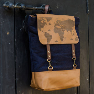 Tan Leather Navy Felt World map Travel Bag Pack Front