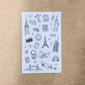 Travel Outline Stickers - Set of 6 Sheets
