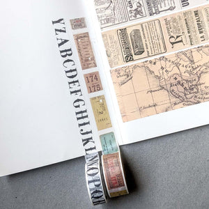 Vintage Alphabets Washi Tape - 15 mm x 8 m
