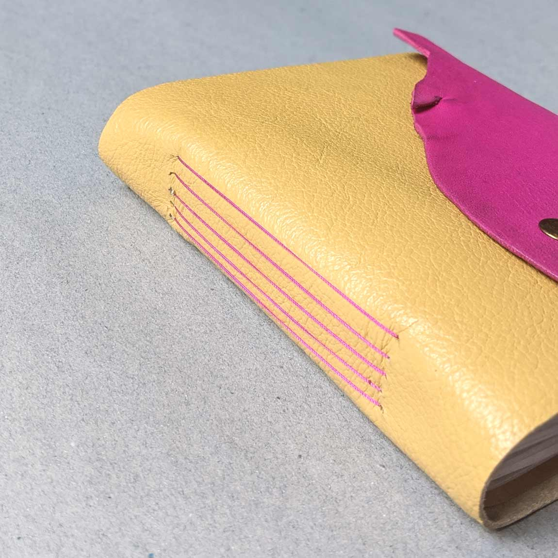 Yellow & Fuschia Pink Square Leather Journal