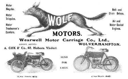 An advertisement for Wolf Motorcycles, featuring prices, a leaping wolf and two motorcycles.