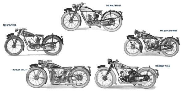 The Wolf Minor, The Wolf Cub, The Super Sport, The Wolf Utility and The Wolf Vixen - Five motorcycles from the 1932, Wolf Motorcycles Company catalogue.