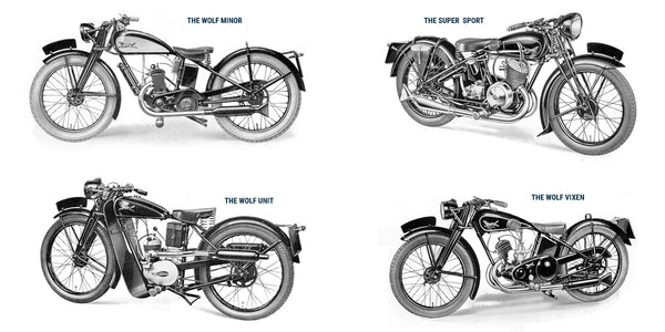 The updated Wolf Minor, The Wolf Cub, The Super Sport, The Wolf Utility and The Wolf Vixen - Five motorcycles from the 1937 Wolf Motorcycles Company catalogue.