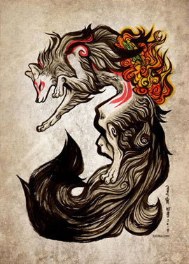 Multi-coloured Japanese style wolf tattoo design with vibrant fire-like pattern and extensive tail design and red body dashes