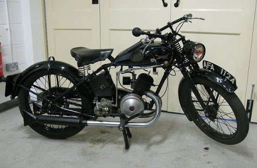 A 1937 Wolf Vixen, a motorcycle created by Wolf Motorcycles before the war.