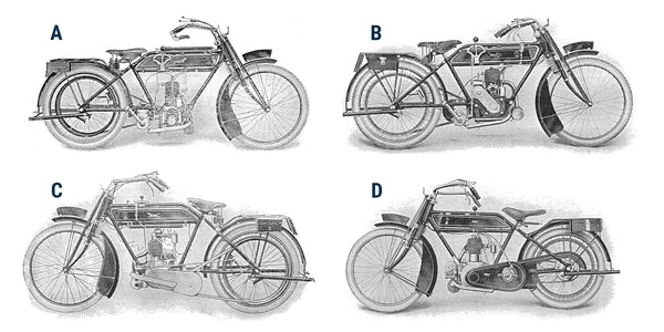4 Wolf Motorcycles, unnamed, from the 1915 Wolf Motorcycle Company catalogue.